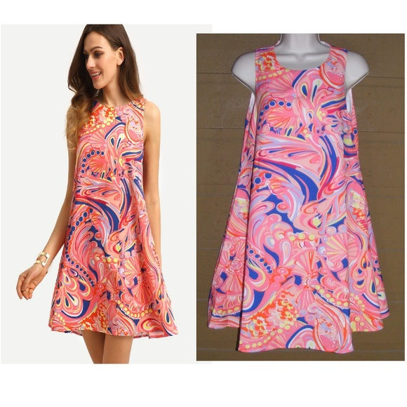 df015f6fc6d1 SHEIN Dresses | Shift Dress Xs Pink Paisley Wide Sweep | Poshmark